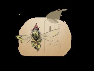 Krasnoludek uratowany przez pszczołę