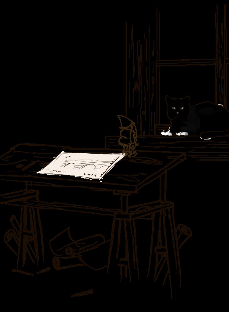 Krasnoludek na stole kreślarskim
