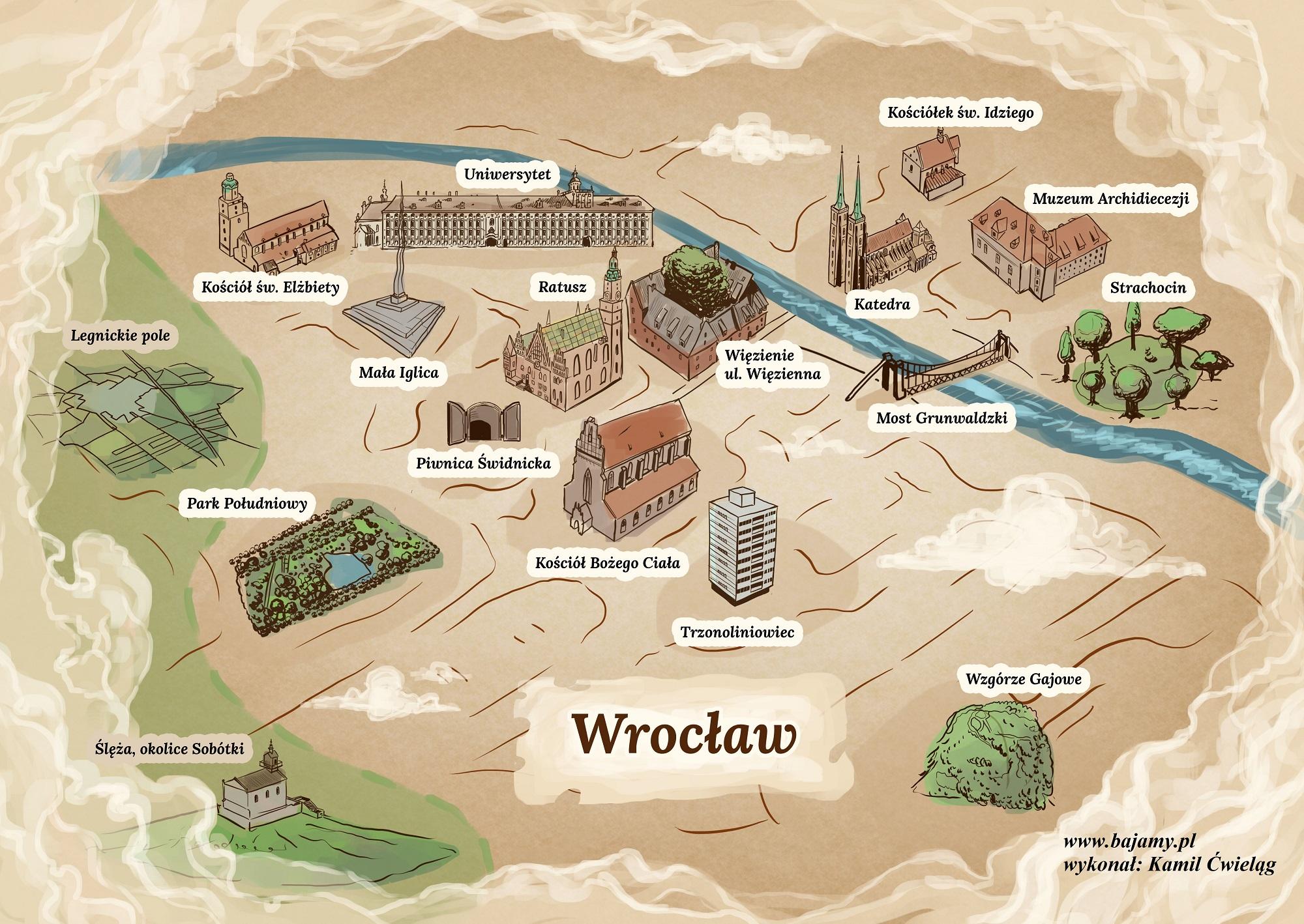 Poglądowa mapa Wrocławia i okolic