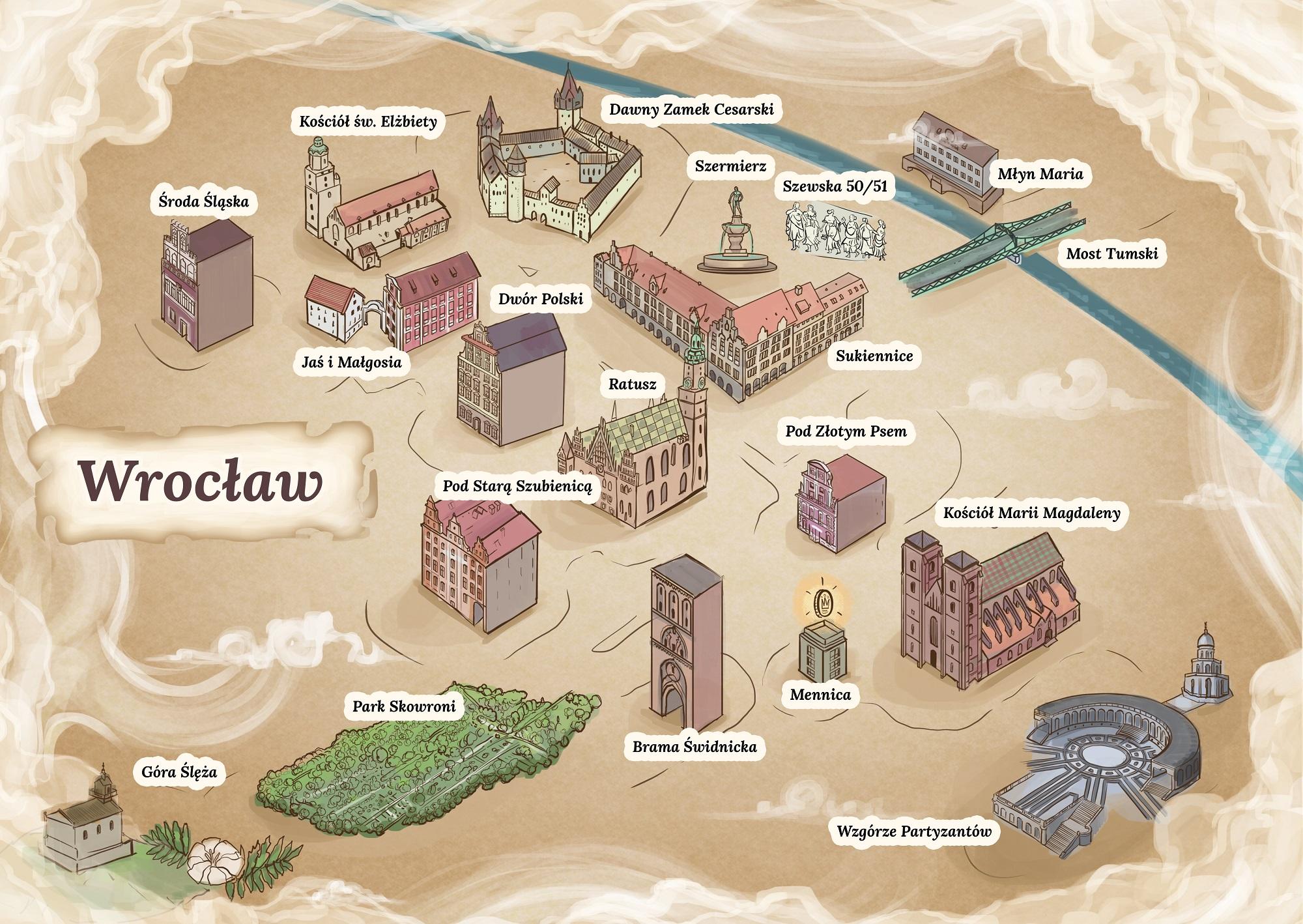 Poglądowa mapa dla części drugiej serii Opowiadania nie tylko wrocławskie